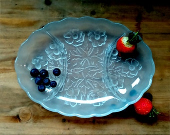 Bagley glass snack tray, a decorative tray to be used as a serving tray or vanity tray, glass snack set, glass vanity tray, divided tray.