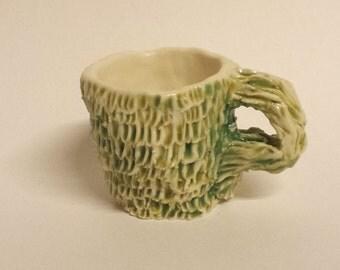 Celadon green, white & brown Monster mug