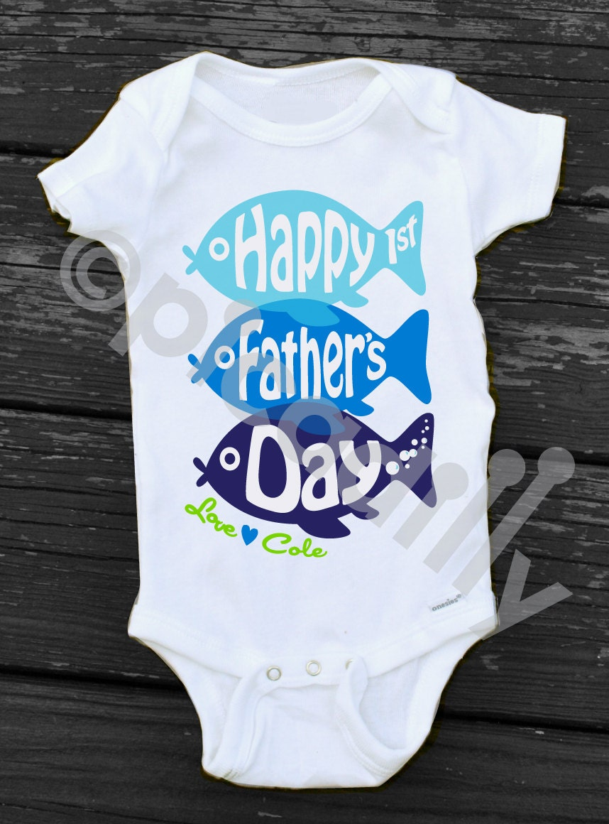 Baby Boy Happy 1st Fathers Day Onesie Happy Fathers Day Gift