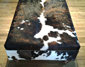 Genuine Cow Hide Cowhide Ottoman Footstool Bench Chair Furniture Table Coffee Table Custom. Color is BlacK ,White , Brown  SOLD!