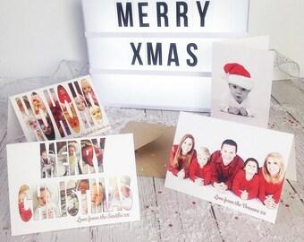 Personalised Photo Christmas Cards, Merry Christmas, Seasons Greetings, 20, 50 or 100,