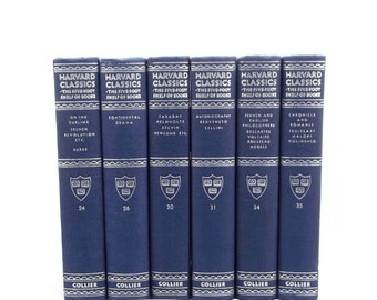 Blue Harvard Classics, antique Harvard Classic book collection, instant classic library, old Harvard Classics 1910, sky blue book set