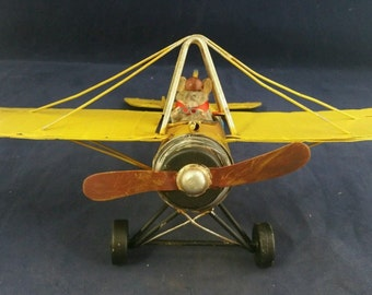 Taxidermy Red Barron Mouse Flying Metal Airplane///rat-squirrel-ermine-skunk