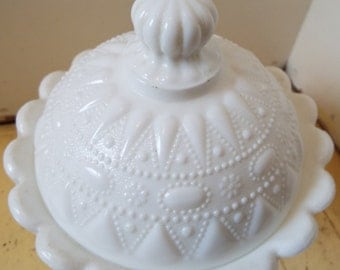 Vintage Milk Glass Covered  Dish