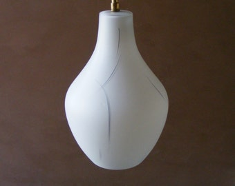 Vintage French White Glass Ceiling Light,Lamp,Shade with a grey pattern.