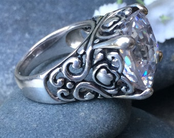 Royal vintage Cz and sterling dress ring size 6