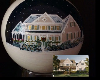 House Painted Ornament  House Portrait Christmas Bulb First Home House Warming Gift