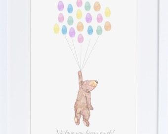 Baby Shower guest book, Keepsake art, bear holding thumb print balloons, Baby shower , nursery art, baby decor,custom art  My love bubble