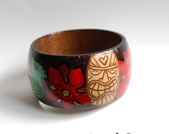 Tiki Christmas Bangle with Poinsettias, Rockabilly, Pin Up, Vintage style