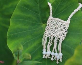 Ivory Crocheted Macrame Necklace w/ beading