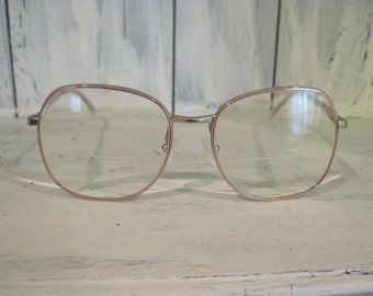 Vintage Made in Italy golden and pink color metal large big eyeglasses frames for women, retro eyewear full rim eye glasses accessories gift