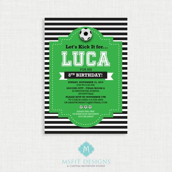 Printable Birthday Invitation- Soccer Birthday Invitation, Soccer Birthday Party Invitations, Soccer, DIY,  Printable Template, Digital