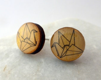 Wooden Earrings - Gold Origami Crane