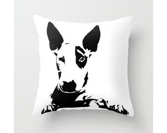 English Bull Terrier Pillow, Bull Terrier Decor, Bull Terrier Gift, Bull Terrier Cushion, Dog Lover Housewarming Gift, Monochrome Cushion