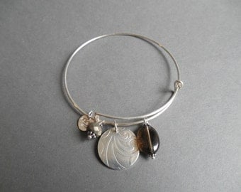 Sterling Silver Bangle Bracelet with Smokey Quartz and Pyrite Charms