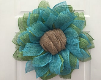 Sunflower Burlap Wreath, Burlap Sunflower Wreath, Front Door Wreaths, Handmade Wreath, Handmade Gift, Fall Wreath, Beach Wreath