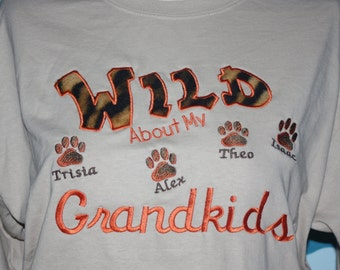 Grandparents long sleeve tshirt - Wild about my grandkids embroidered long sleeve tshirt - Custom grandma t-shirt - Christmas Gift For Her