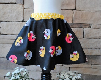 Mickey Mouse Themed Girl's Skirt. Black Red Yellow Polka-Dot Disney Print. Birthday Party Gift. Twirl Skirt, 12mo, 18mo, 2t 3t 4t 5t 6 7 8