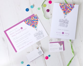 Disney Up Themed Wedding / Party Invitation Set
