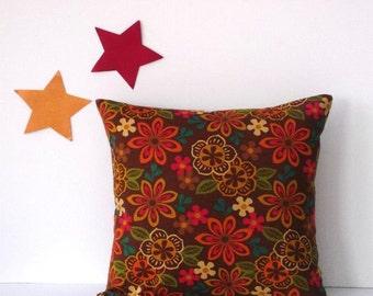Floral 18x18 Pillow Cover, Brown Orange Green Blue Accent Throw Pillow, Sofa Cushion Cover, Decorative Pillow Sham, Mod Print Floral Pillow