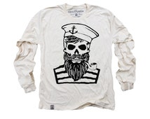 Blackbeard's Ghost: Organic Fine Jersey Long Sleeve T-Shirt in Unbleached Natural