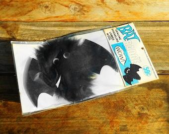 Vintage 60s Bat Badge Google Eye Pinback Halloween