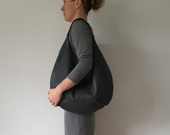 Large black and tan leather hobo bag, black leather shoulder bag, black leather tote bag, black leather shopper bag, black leather hobo bag