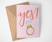 She Said Yes Card, Happy Engagement Card, Engagement Card, Card Engagement, Were Getting Married Card, Engagement Announcement Card