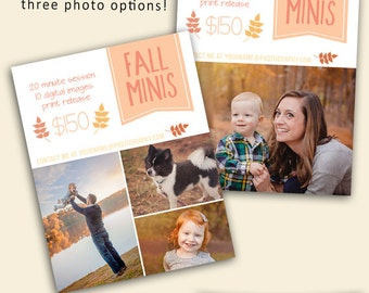 Fall Mini Session Template Marketing Template - Photography Marketing Board - Fall Minis PSD Template - Instant Download
