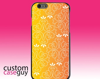 Hard Snap-On Case for Apple 5 5S SE 6 6S 7 Plus - CUSTOM Monogram - Any Colors - Yellow Orange Red Gradient