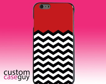 Hard Snap-On Case for Apple 5 5S SE 6 6S 7 Plus - CUSTOM Monogram - Any Colors - Black White Red Chevron