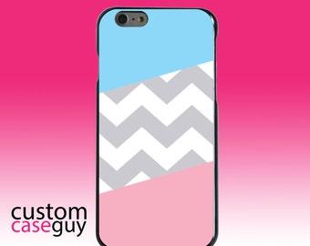 Hard Snap-On Case for Apple 5 5S SE 6 6S 7 Plus - CUSTOM Monogram - Any Colors - Pink Blue Block Grey Chevron