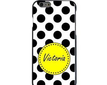 Hard Snap-On Case for Apple 5 5S SE 6 6S 7 Plus - CUSTOM Monogram - Any Colors - Black White Yellow Polka Dots