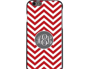 Hard Snap-On Case for Apple 5 5S SE 6 6S 7 Plus - CUSTOM Monogram - Any Colors - Red White Grey Chevron Circle