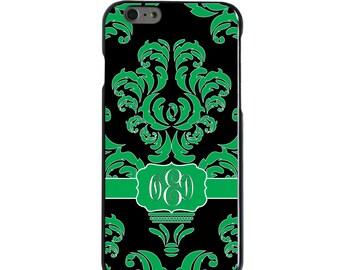 Hard Snap-On Case for Apple 5 5S SE 6 6S 7 Plus - CUSTOM Monogram - Any Colors - Green Black White Damask Ribbon