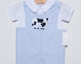 Light Blue Check Boys Applique Cow Shortall Jon Jon