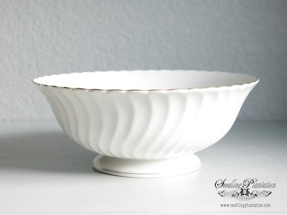 Vintage Syracuse China Pedestal Serving Bowl-Debonair Pattern, Pedestal Bowl, Ironstone Serving Bowl, Cream, White Dishes