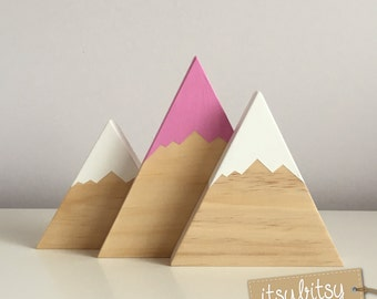 Nursery Decor, Kids decor, Wooden Mountains Set of 2 or 3, Home Decor, wooden decor, new baby gift - You choose colours to match your room