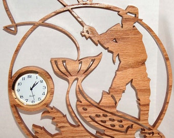 Fly Fishing, Woodworking, Fishing, Fishing Decor, Fishing Gifts, Wall Clock, Unique Wall Clock, Fisherman Gift, Wood Clock, Home Decor, Wood