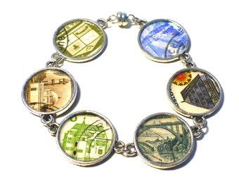 Postage Stamp Bracelet Eco-design Jewelry Buildings Bridges Architecture, International