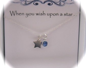 Sterling Silver Wishing Star and Coloured Birthstone Swarovski Crystal Necklace