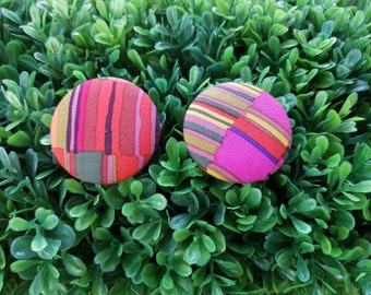 90's- Handmade Fabric Button Earrings