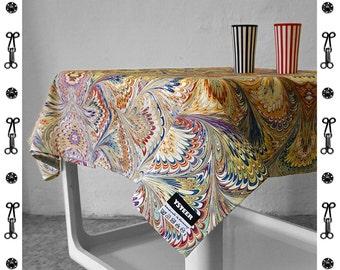 ART DECO TABLECLOTH, table runner, Vintage, Cotton, Art Nouveau, digital print, 1920 - 1940, marbling, blue, 1920th, 1930th