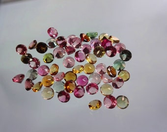 56-pc lot Natural AAAA quality Multi Tourmaline cut stone round shape app pieces eye clean size 3.5mm GW947