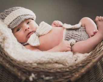 Newborn boy photo outfit, newborn boy crochet outfit baby boy outfit hat tie bow Diaper cover Crochet Newborn photo prop. Mix and match