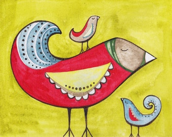 Fancy birds on lime, print of original painting