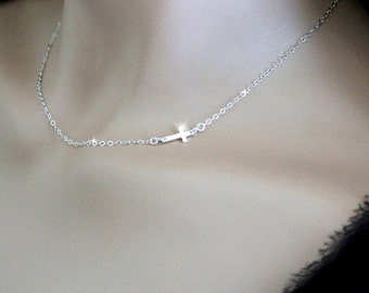 FREE SHIPPING Sideways Cross Necklace Silver, Gold Off center slant horizontal cross Kelly Ripa Side Cross Mother's Day gift