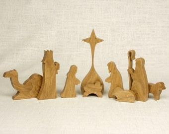 Nativity Set (Oregon Oak) Nativity Scene, Manger Scene, Creche, Baby Jesus, Nativity Silhouette