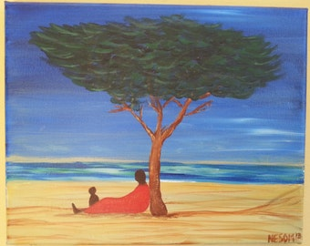 "8"" x 10"" Acrylic Painting ~ Father and Son Under Tree at Beach"