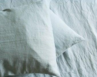 Pastel Blue Linen Pillow Sham/ Pillow Case / Natural Linen/ Softened Linen